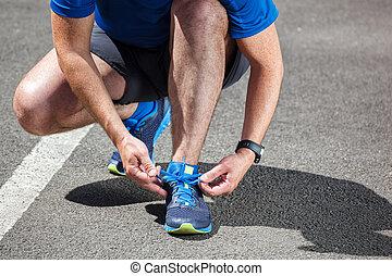 靴, 得ること, ランナー, 動くこと, 準備ができた, つらい, run.