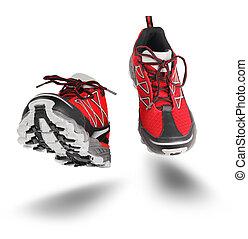 靴, 隔離された, スポーツ, 赤, 動くこと, 白