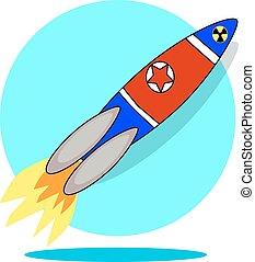 韓国, 北, ロケット, 隔離された, イラスト, 旗, 背景, 白