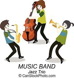 音楽家, スタイル, , イラスト, ジャズ, saxophone., 隔離された, コントラバス奏者, 背景, トリオ, ベクトル, トランペット, 漫画, band.