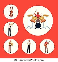 音楽家, 音楽, 歌手, セット, カラフルである, バンド, デザイン, ジャズ, 道具