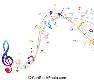 音楽的な ノート, 多色である
