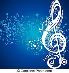 音楽, アイコン, 創造的, 花