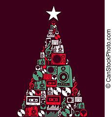 音楽, オブジェクト, 木, クリスマス
