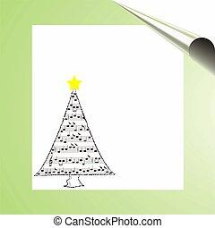 音楽, クリスマスカード, 木