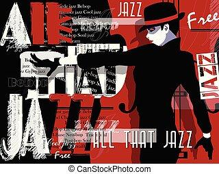 音楽, ジャズ, template., 背景, ポスター