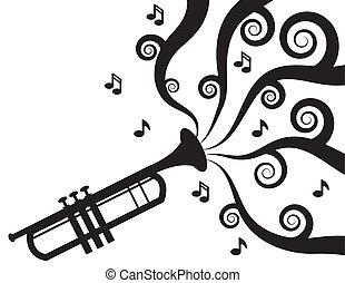 音楽, トランペットを演奏すること, シルエット