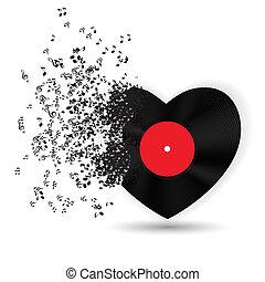 音楽, ノート。, ベクトル, カード, バレンタイン, 心, 日, 幸せ, イラスト