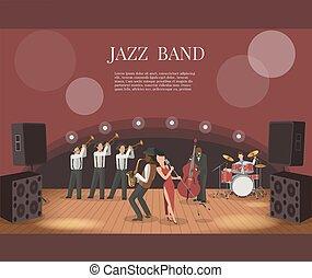 音楽, ベクトル, ステージ, 音楽家, バンド, ジャズ, イラスト, 平ら