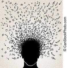 音楽, 頭, デザイン, メモ, から