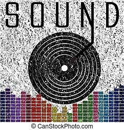 音, グラフィック, ワイシャツ, ポスター, 音楽, t, デザイン