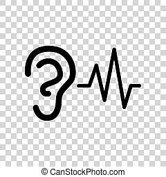 音, バックグラウンド。, 印。, ヒアリング, 黒, 耳, アイコン, 透明