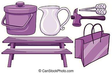 項目, 紫色, 世帯, 隔離された, セット