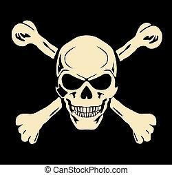 頭骨, 悪, 印, 警告, vector., bones.