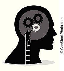 頭, はしご, インストール, ギヤ, 人間, 人