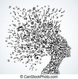 頭, はね返し, 音楽メモ, 女