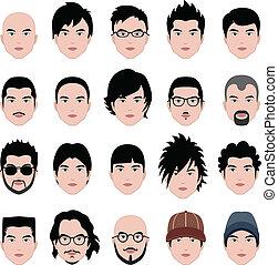 頭, ヘアスタイル, 顔, 毛, マレ, 人