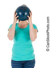 頭, ボール, 彼女, ただ, 女性の保有物, ボウリング, 前に