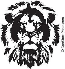 頭, 入れ墨, ライオン, 黒