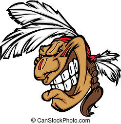 頭, 勇士, indian, にっこり笑う, ベクトル, 漫画, マスコット