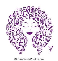 頭, 女, 概念, 化粧品, 付属品, デザイン, 女性, あなたの
