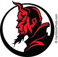 頭, 悪魔, illu, 悪魔, ベクトル, マスコット