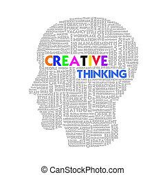 頭, 概念, 単語, ビジネス, 中, 考え, 形, 創造的, 雲