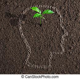 頭, 概念, 土壌, 中, 考え, 若い, 成長, 人間, 輪郭