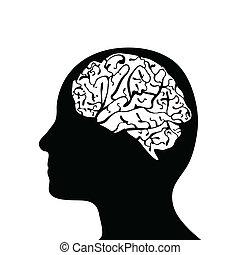 頭, silhouetted, 脳