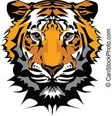 頭, tiger, ベクトル, マスコット, グラフィック