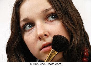 顔, モデル, 若い, 化粧用パフ
