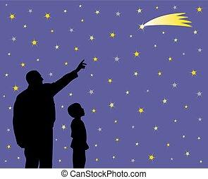顔, 父, 子供, 提示, 落ちる, 彼の, うわーっ, 驚かせられた, 星
