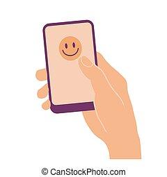 顔, 電話, 手を持つ, 痛みなさい, 幸せ