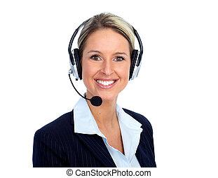 顧客, オペレーター, woman., 呼出し 中心