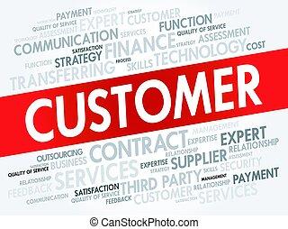 顧客, 概念, 単語, 雲, タグ