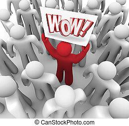 顧客, 群集, うわーっ, suprise, 印, 満足, 保有物, 人
