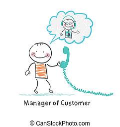 顧客, 話し, マネージャー, ヘッドホン, クライアント