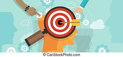 顧客, 頭, 概念, ターゲットマーケティング, 心, 作戦, 市場, チェス, 人間, ポジション, 消費者, 位置