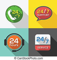 顧客, 24, セット, サービス, 平ら, サポート, 何時間も, アイコン