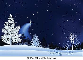 風景, 冬, イラスト