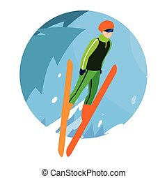風景, 冬, スキー, 山 人