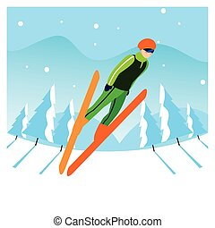 風景, 冬, 山 人, スキー