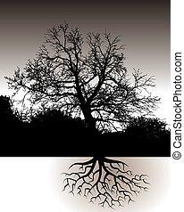 風景, 定着する, 木