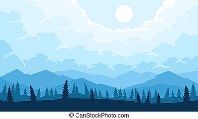 風景, 山, 木, 前景, シルエット