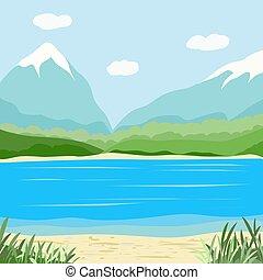 風景, 山, 湖, イメージ