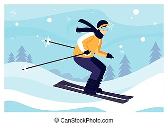 風景, 山, 積雪量, 人, スキー