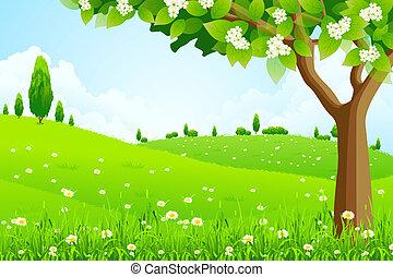 風景, 木, 緑