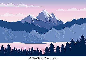 風景, 森林, 木, 美しい, 山