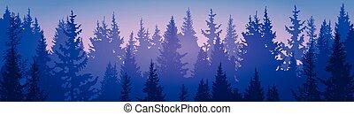 風景, 森, 松, 空, 森林, 山