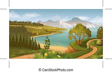 風景, 海, 自然, 湾, ベクトル, 背景